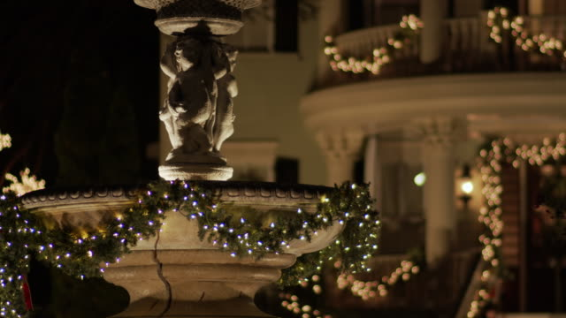 Beautifully Decorated Charleston Home and Fountain at Christmas