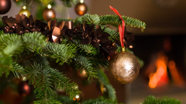 stockvideo's en b-roll-footage met prachtig versierd kerstboom - schoorsteen