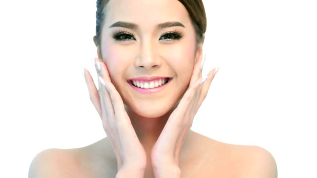 Beauty Portrait Of Woman Beautiful Face In Skincare Concept. video