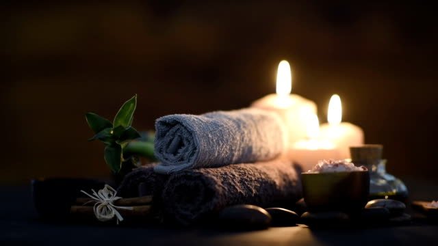 Beauty spa treatment with candles video