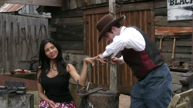 Beauty treatment in Wild West video