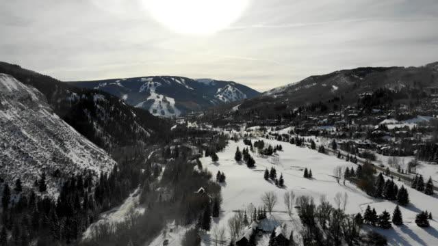 Beaver Creek Colorado Ski Area Aerial Drone Clip in the Winter