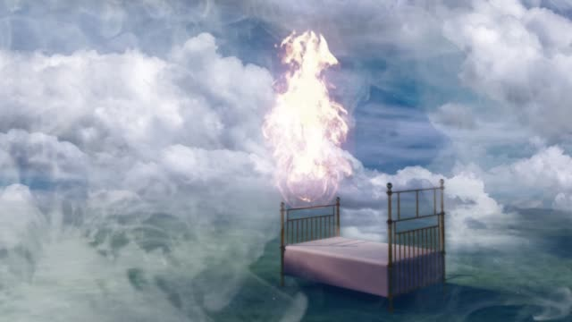 Bed in fantasy landscape Burning bed in fantasy landscape heaven stock videos & royalty-free footage