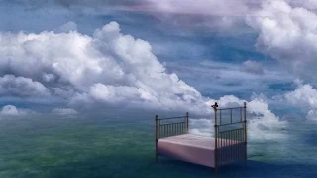 vídeos de stock e filmes b-roll de bed in fantasy landscape - surrealismo