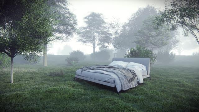 vídeos y material grabado en eventos de stock de cama en bosque - colchón