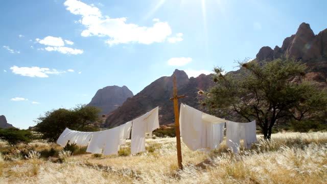 bettwäsche in der afrikanischen savanne - afrikanische steppe dürre stock-videos und b-roll-filmmaterial