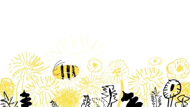 bee flying over the flowers animation - pszczoła filmów i materiałów b-roll