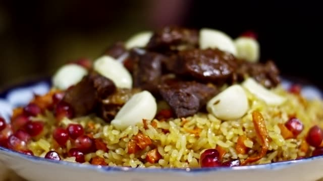 Beef Pilaf on Plate video