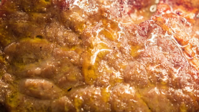 Beef Ribeye Steak Cooking Extreme Close-up Time Lapse video