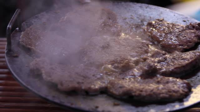 beef steak in a pan video
