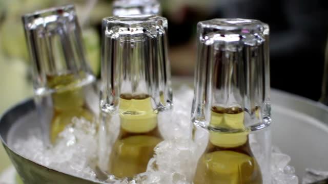 beer bottles in a bucket of ice video