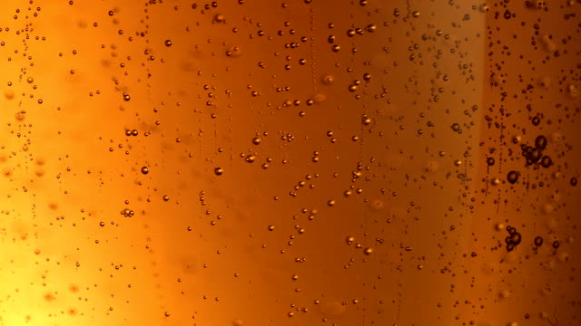 Beer bubbles extreme close up - video