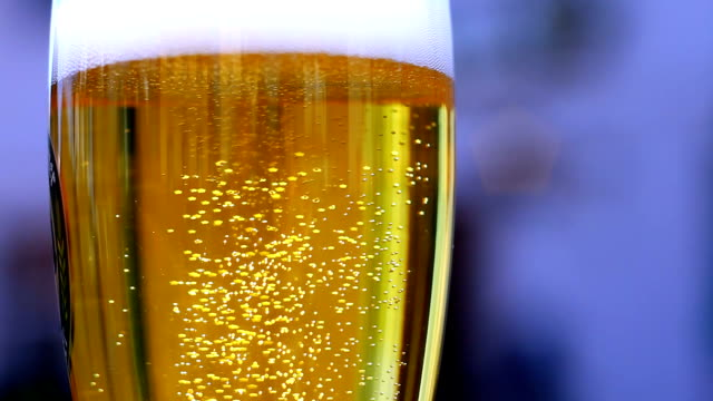 Beer Bubbling In The Glass Close-up video