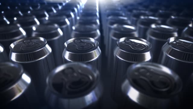 vídeos de stock e filmes b-roll de 4k beer cans. energy drink. tin aluminum soda cans loop background . coke recycling close up - engradado