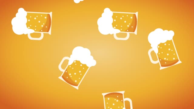 Beer cups falling HD animation video