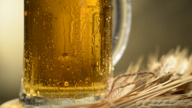 beer glass and barley. dolly shot. - tap water filmów i materiałów b-roll