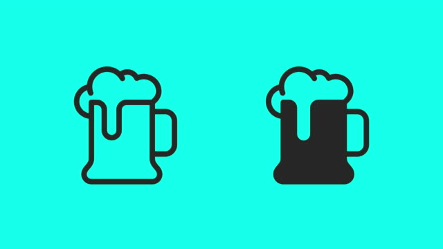 öl mugg ikoner - vektor animera - alkohol bildbanksvideor och videomaterial från bakom kulisserna