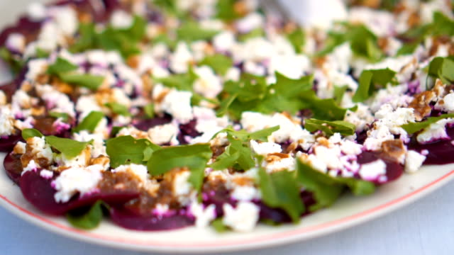 Beetroot carpaccio appetizer dish video