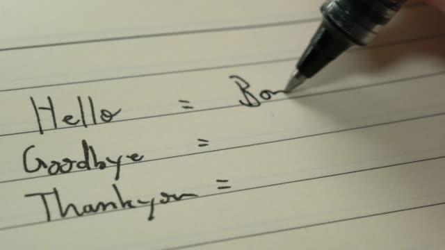 Débutant Français apprenant la langue écrivant des mots dans Français pour les devoirs sur un plan rapproché de cahier - Vidéo