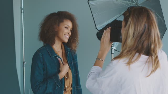 Behind the scenes on a fashion photoshoot