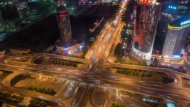 Beijing, Aerial View of Busy Road Intersection video