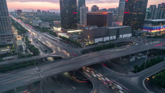 T/L MS HA Beijing Central Business District and Road Intersection, Day to Night Transition / Beijing, China video