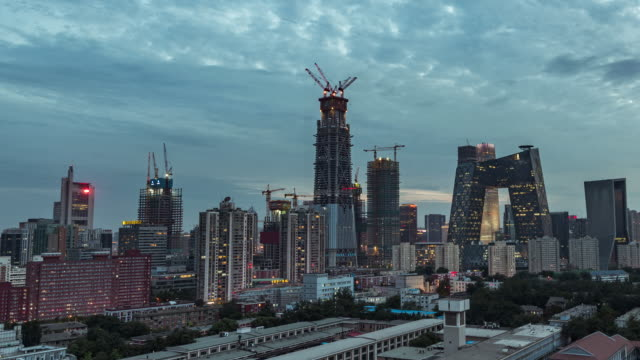 T/L WS HA ZI Beijing Central Business District Day to Night Transition / Beijing, China video
