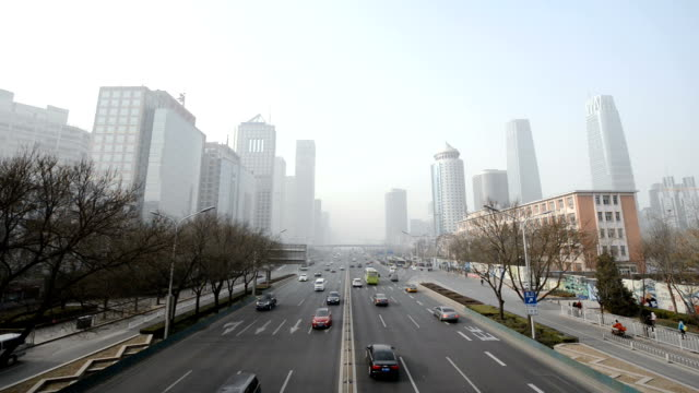 Beijing Central Business District in Smog video