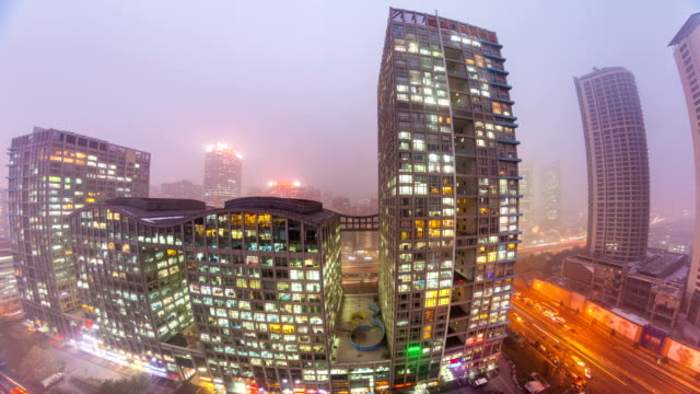 Beijing Central Business District skyline sunset. Timelapse video
