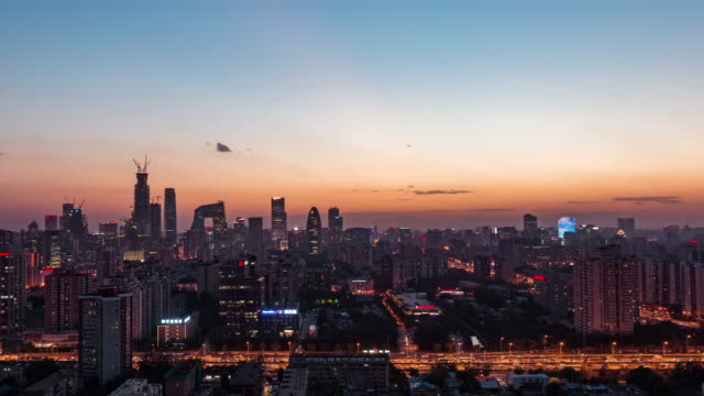 T/L WS HA PAN Beijing Urban Skyline Dusk to Night Transition video
