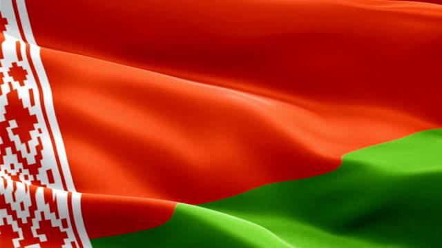 belarus flag motion loop video waving in wind. realistic belorussia flag background. belarus flag looping closeup 1080p full hd 1920x1080 footage. belarus asia country flags footage video for film,news - kiss filmów i materiałów b-roll