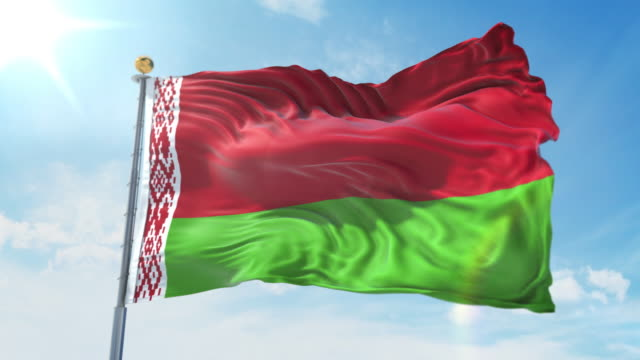 Belarus flag waving in the wind against deep blue sky. National theme, international concept. 3D Render Seamless Loop 4K Belarus flag waving in the wind against deep blue sky. National theme, international concept. 3D Render Seamless Loop 4K allegory painting stock videos & royalty-free footage