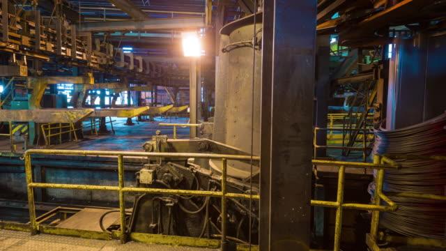 belarus metal factory illumination working hall panorama 4k time lapse video