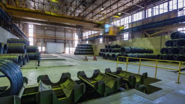 belarus metal factory rod storage working panorama 4k time lapse video