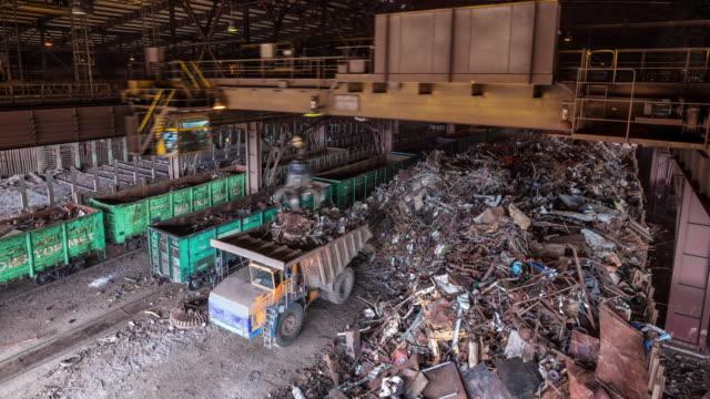 belarus metal factory scrap-metal place panorama 4k time lapse video