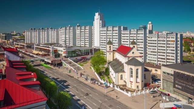 belarus nemiga traffic street minsk city roof top panorama 4k time lapse video