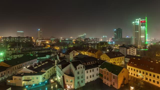 belarus night illumination minsk city center roof top panorama 4k time lapse video