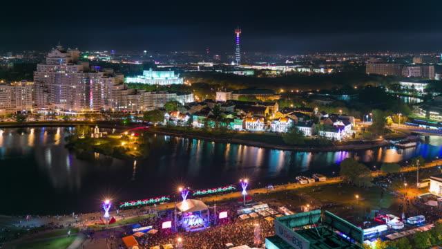 belarus sunset evening minsk city celebration roof center panorama 4k time lapse video