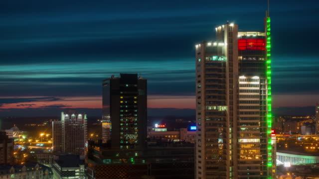 belarus sunset minsk city center illumination roof top panorama 4k time lapse video