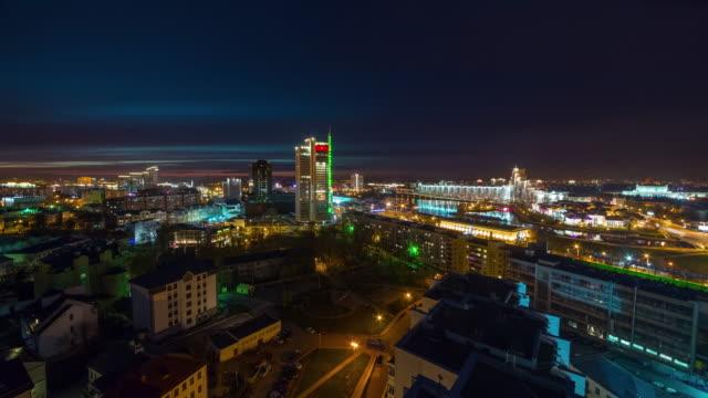 belarus sunset night city center roof top panorama 4k time lapse video
