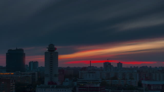 belarus sunset sky roof top city center panorama 4k time lapse minsk video