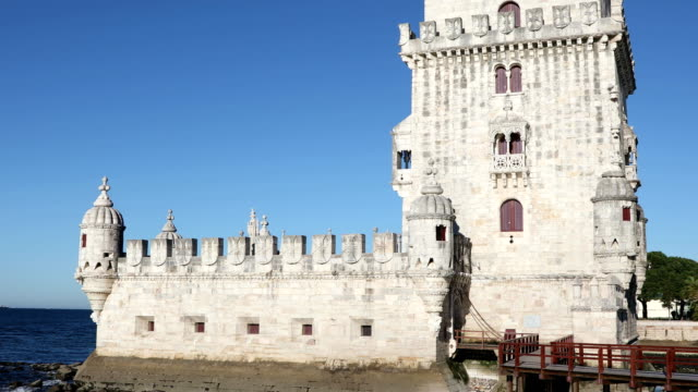 Belem Tower at clear sunny day video