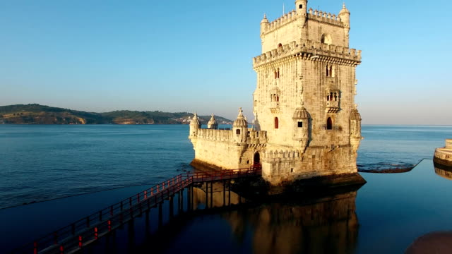 belem tower at morning lisbon aerial view - portogallo video stock e b–roll