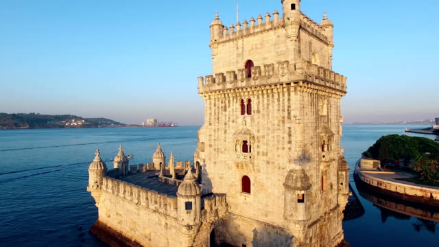 Belem Tower at morning Lisbon aerial view Belem Tower at morning Lisbon portugal stock videos & royalty-free footage