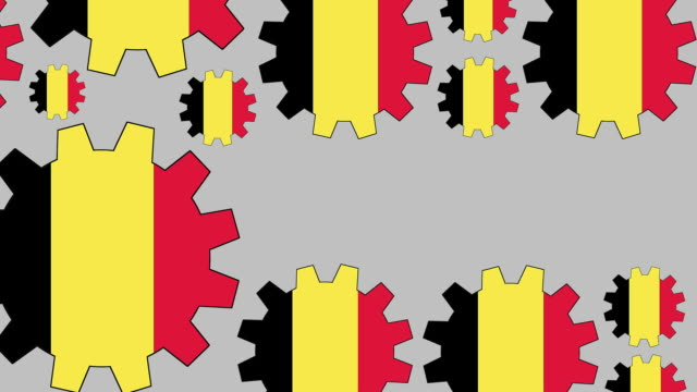 Belgian flag gears shaping euro symbol Digital animation of turning belgian flag gears shaping euro symbol while zooming out for business concept schengen agreement stock videos & royalty-free footage