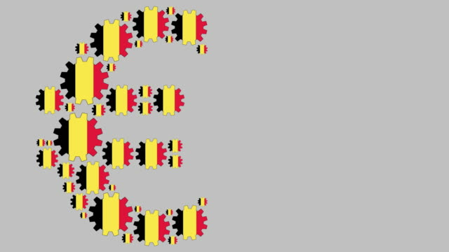 Belgian flag gears shaping euro symbol Digital animation of turning belgian flag gears shaping euro symbol while moving from left to right for business concept schengen agreement stock videos & royalty-free footage
