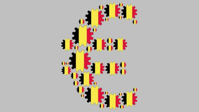 Belgian flag gears shaping euro symbol Digital animation of turning belgian flag gears shaping euro symbol for business concept schengen agreement stock videos & royalty-free footage