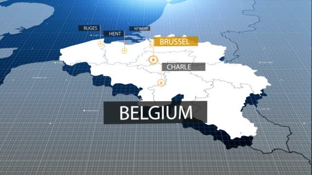 belgium map - belgio video stock e b–roll