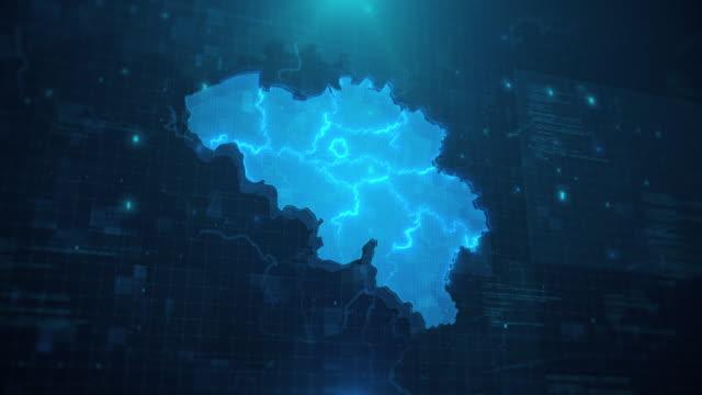 mappa belgio con regioni su sfondo animato blu 4k uhd - belgio video stock e b–roll