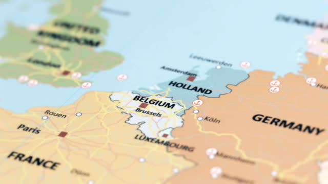 EUROPE Belgium on World Map tracking to Belgium netherlands stock videos & royalty-free footage